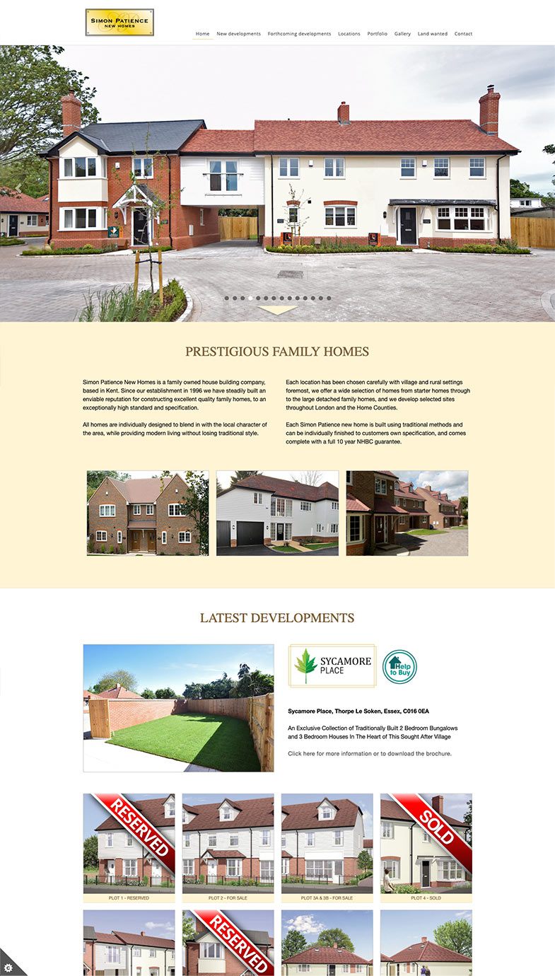 simon patience new homes UK Website development design